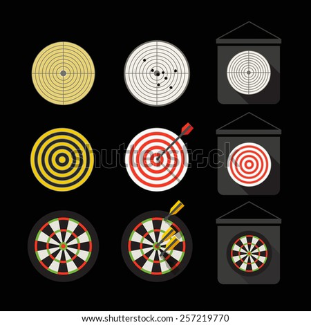 Different darts collection. Flat design - stock vector