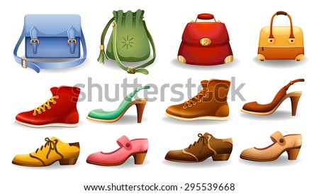 Different design of shoes and bags