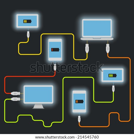 Different devices. Charging scheme - stock vector