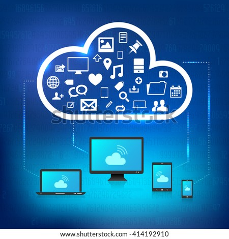 Different devices connected to cloud with icons of services - cloud solution concept - vector illustration - stock vector