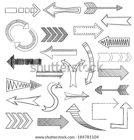 Different directions arrows sketch pencil drawing icons set flat isolated vector illustration - stock vector
