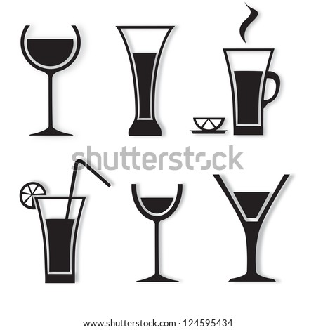 Different drinks and cocktails - isolated on white background. Vector illustration, Graphic Design. Black drinks and beverages icons set. Logo Drinks - stock vector