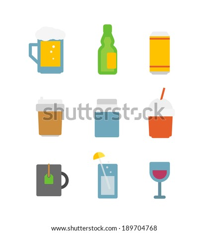 Different drinks icons set isolated on white. Flat design icons
