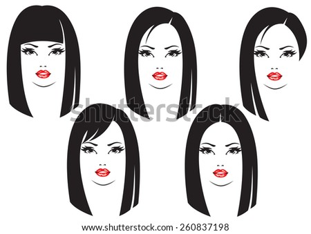 Different faces of women with hairstyles - stock vector