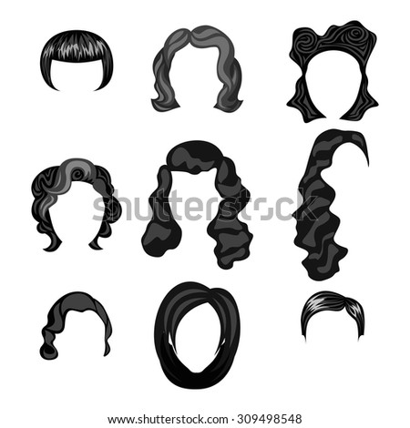 different faces of women with hairstyles black  - stock vector