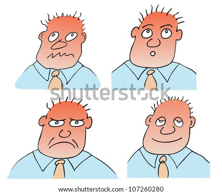 different facial expressions - stock vector