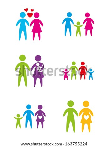 Different family over white background vector illustration