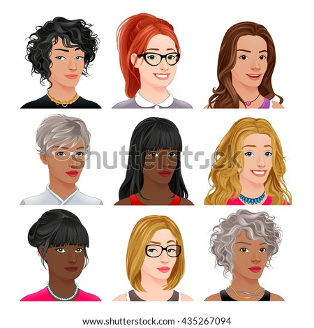 Different female avatars. Vector isolated characters.  - stock vector