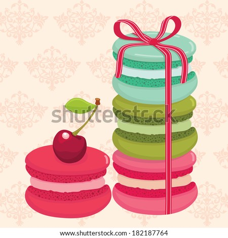 Different flavors and colors French macaroons tied with ribbon. Royal pattern background. Vector illustration. - stock vector