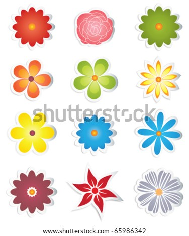 Different flowers on stickers - stock vector