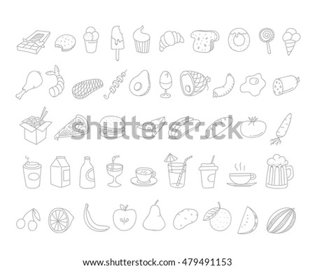 Different food doodles. Lineart hand-drawn elements clip-art for design