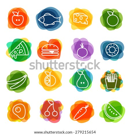 Different food silhouette icons collection. Watercolor design elements - stock vector
