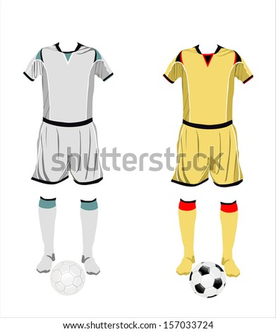 Different football Soccer uniforms. Vector illustration - stock vector