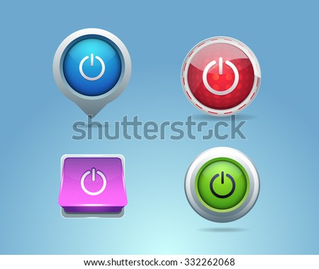 Different Frames Power Icons, Buttons Template - stock vector