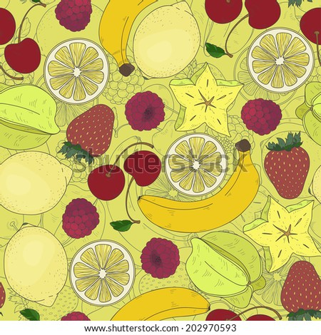Different fruits seamless pattern. Vector illustration