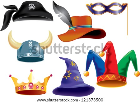 different funny hats for party, holidays and masquerade - stock vector