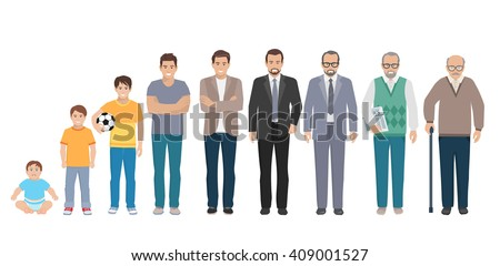 Different generations full length silhouette european men isolated set vector illustration - stock vector