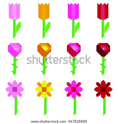 Different geometric flowers vector set on the white background