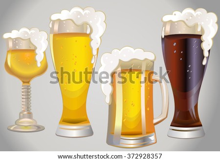 different glasses with different beers on a background