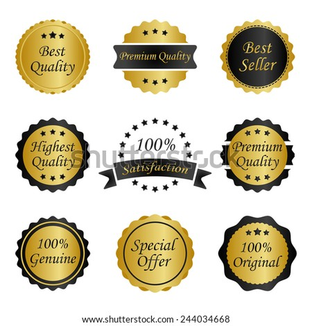 different gold with black labels - stock vector