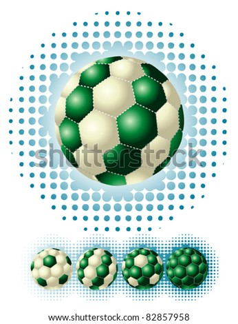 Different green footballs on the halftone backgrounds - stock vector