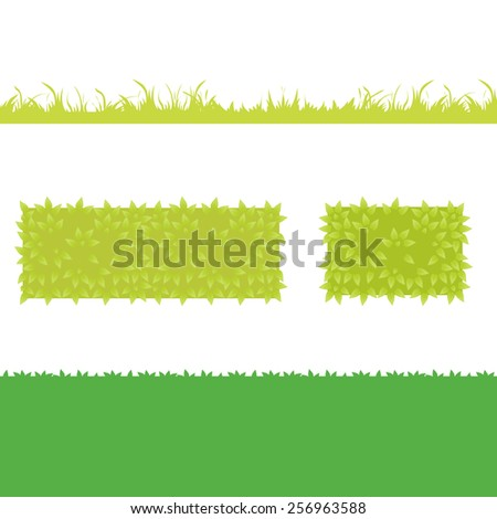 Different Green Grass with bushes. Isolated On White Background. Vector Illustration. Concept  design elements for garden. Eps 8 - stock vector