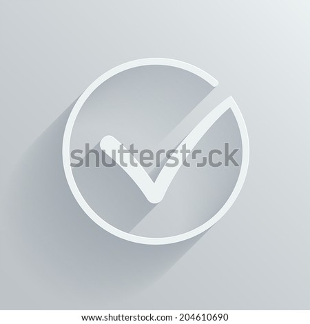 Different grey and white vector check mark or tick in circle conceptual of confirmation acceptance positive passed voting agreement true or completion of task on a list. Flat long shadow illustration - stock vector