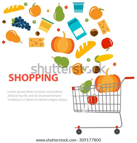 Different grocery products are flying out from the shopping cart, shopping background, vector illustration - stock vector