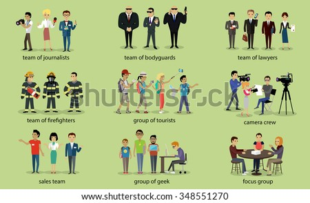 Different groups of people firefighter lawyers,  journalist and bodyguard, lawyer and focus group, geek and sales team, camera crew and tourist illustration - stock vector