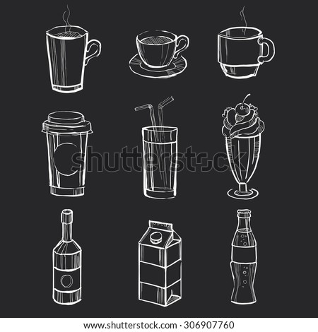 Different hand drawn beverages on the blackboard. Vector illustration set - stock vector