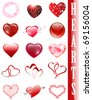 Different heart collection over white - stock vector