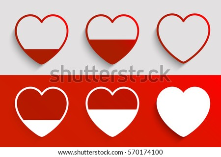 Different heart rating level illustration, vector set , Valentine`s day , I love you