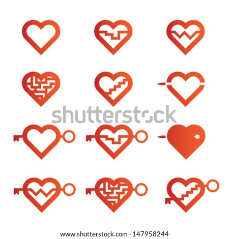 Different hearts - stock vector