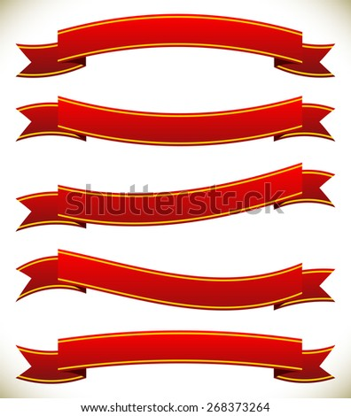 Different horizontal banners in classic red colors - stock vector