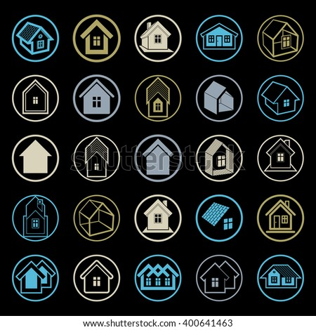 Different houses icons for use in graphic design, set of mansion conceptual symbols, vector abstract property images. Real estate abstract emblems collection.