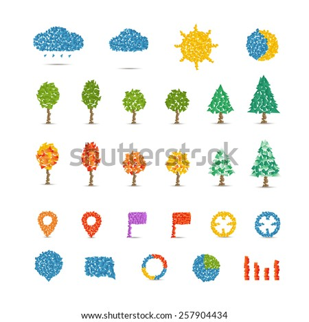 Different icons collection isolated on white. Illustration with abstract gradient polygonal pieces. Infographic design elements - stock vector