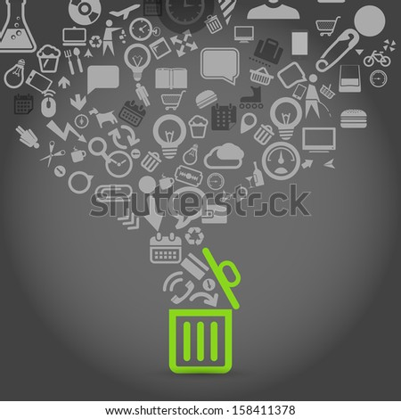 Different icons flows into garbage basket - stock vector