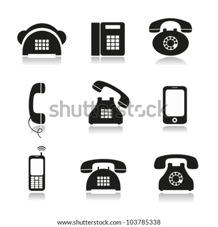Different icons with phone image of black color. EPS-10 (non transparent elements), gradient. - stock vector