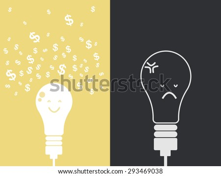 Different idea. Dollar fly from idea lamp. Success money idea, Open light bulb with dollar coin, Business growing money concept. Vector illustration - stock vector