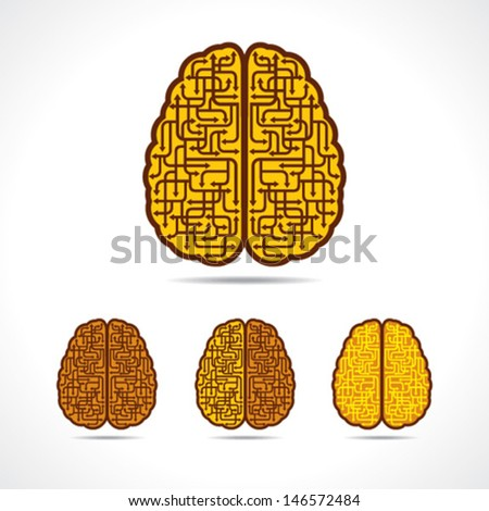 Different illustration of Brain forming of  arrows stock vector - stock vector