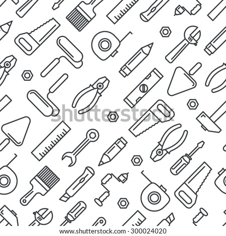 Different industrial equipment. Vector tools seamless pattern - stock vector