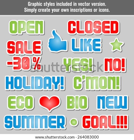 Different inscriptions and icons in one graphic style. Graphic styles included in vector version. - stock vector