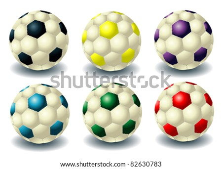 different isolated soccer balls - stock vector