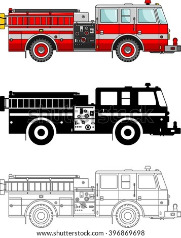 Different kind fire trucks isolated on white background in flat style: colored, black silhouette and contour. Vector illustration. Detailed illustration of fire trucks in a flat style. - stock vector