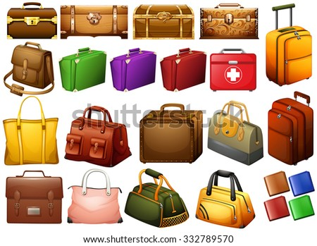 Different kind of bags and chests illustration - stock vector
