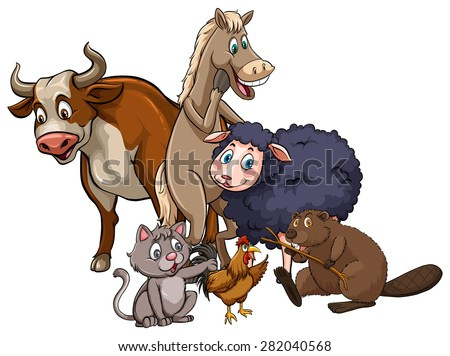 Different kind of farm animals together - stock vector