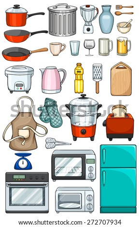 Different kind of kitchen objects - stock vector