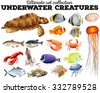 Different kind of sea animals illustration - stock vector
