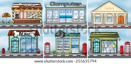 different kind of shops  - stock vector