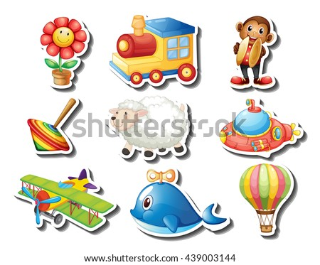 Different kind of toys sticker illustration